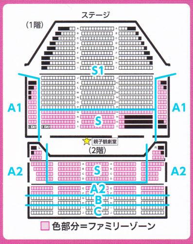 ファミリーゾーンがある劇団四季キャナルシティ劇場の座席表