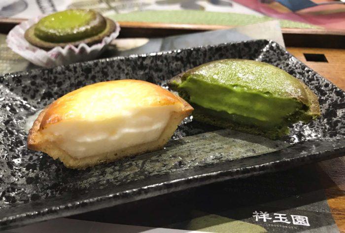 ベイクチーズタルト抹茶2019「深緑」切り口比較