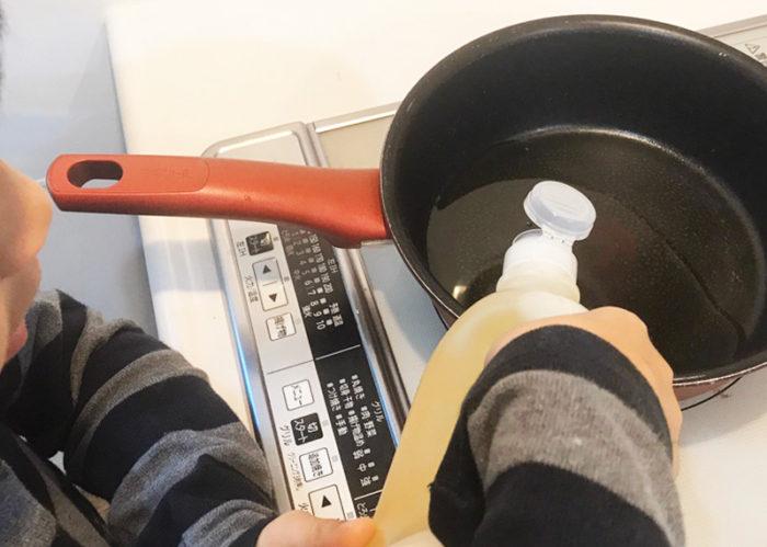 沖縄サーターアンダギの簡単レシピ 揚げ油投入