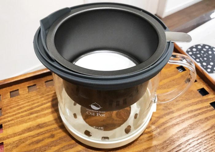 耐熱ガラス製活性炭油ろ過オイルポットW セッティング