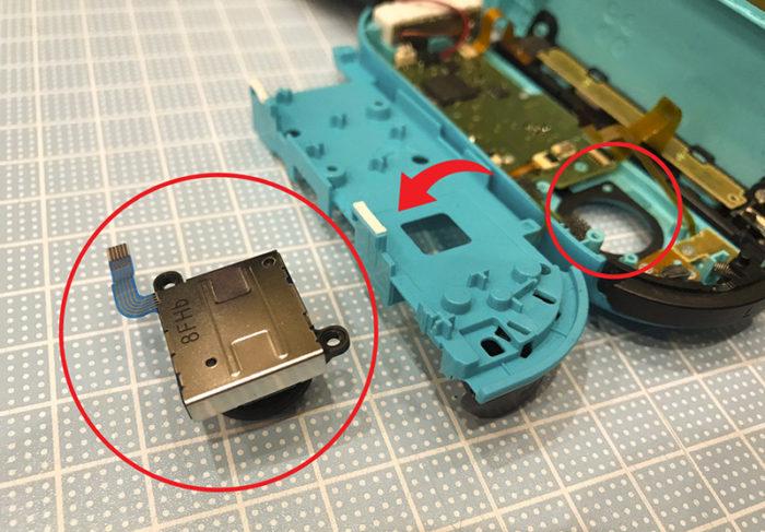 任天堂スイッチ 左のジョイコン(水色)修理 スティックが取り出せた